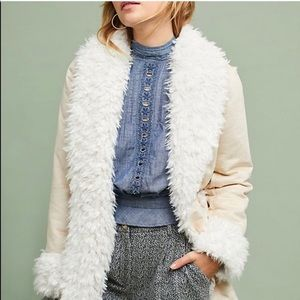 NWOT Anthropologie Faux Sherpa suede coat, soft